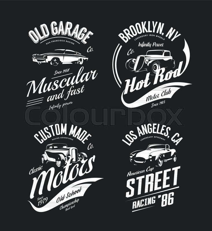 734x800 Vintage Roadster, Custom Hot Rod And Muscle Car Vector Tee Shirt