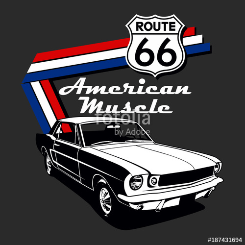 500x500 American Muscle Car Vector Graphic Design Stock Image And Royalty