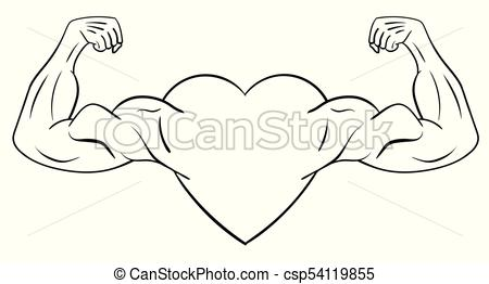 450x262 Heart With Muscular Arms. The Concept Of A Strong Heart. Vector