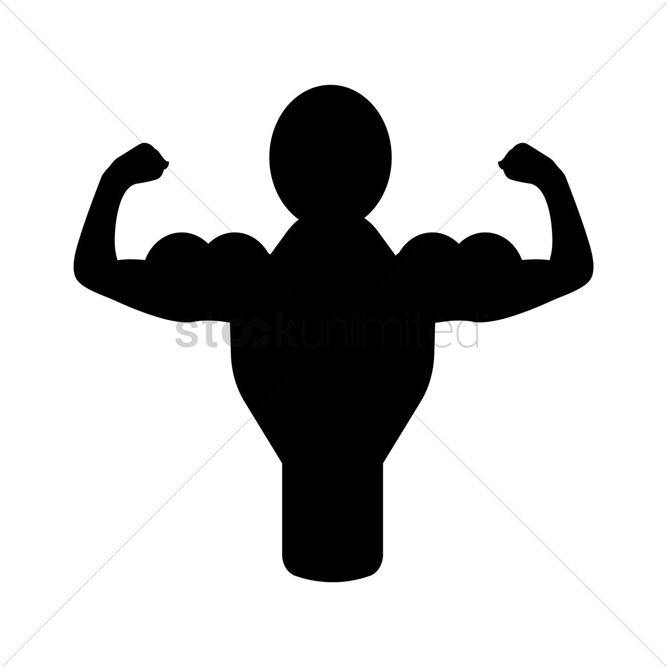 1300x1300 Muscle Man Silhouette Vector Image