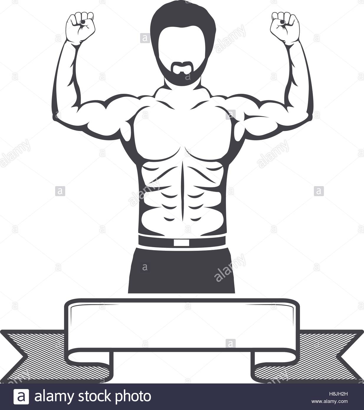 1234x1390 Muscular Body Label Vectors Silhouette Half Body Muscle Man With