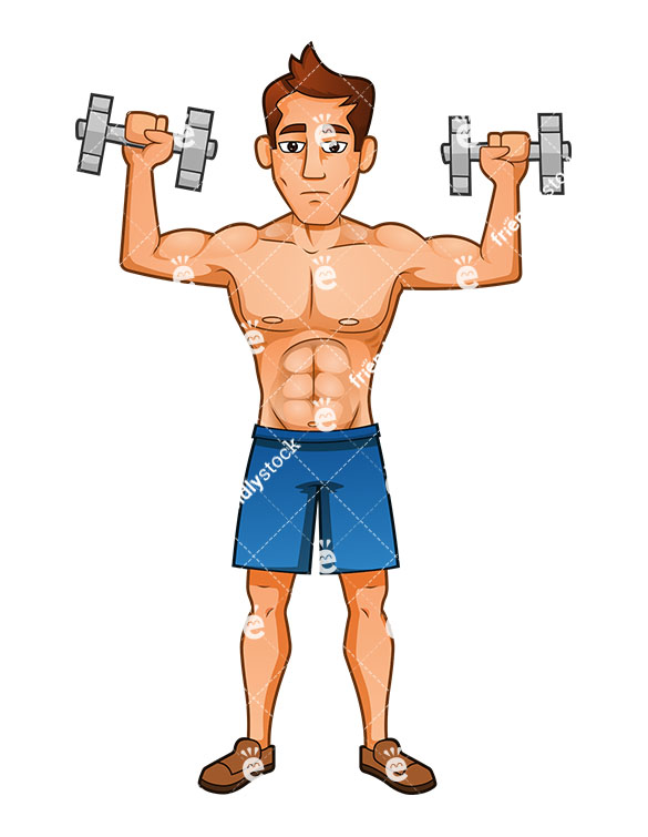 585x755 Muscular Man Performing Shoulder Press With Dumbbells