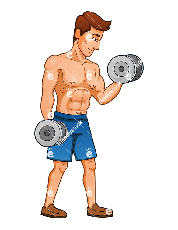 585x755 Muscular Man Working His Biceps With Dumbbells
