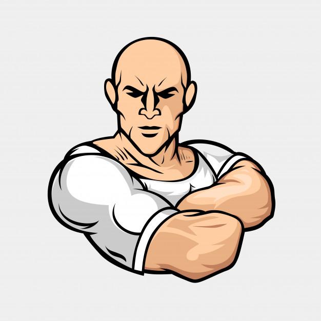 626x626 Muscular Man Mascot Vector Premium Download
