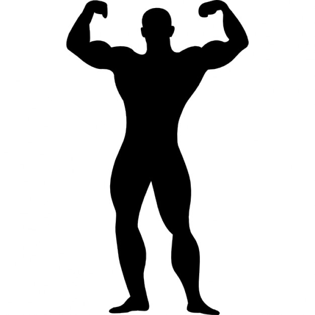 626x626 Muscular Man Flexing Silhouette Icons Free Download