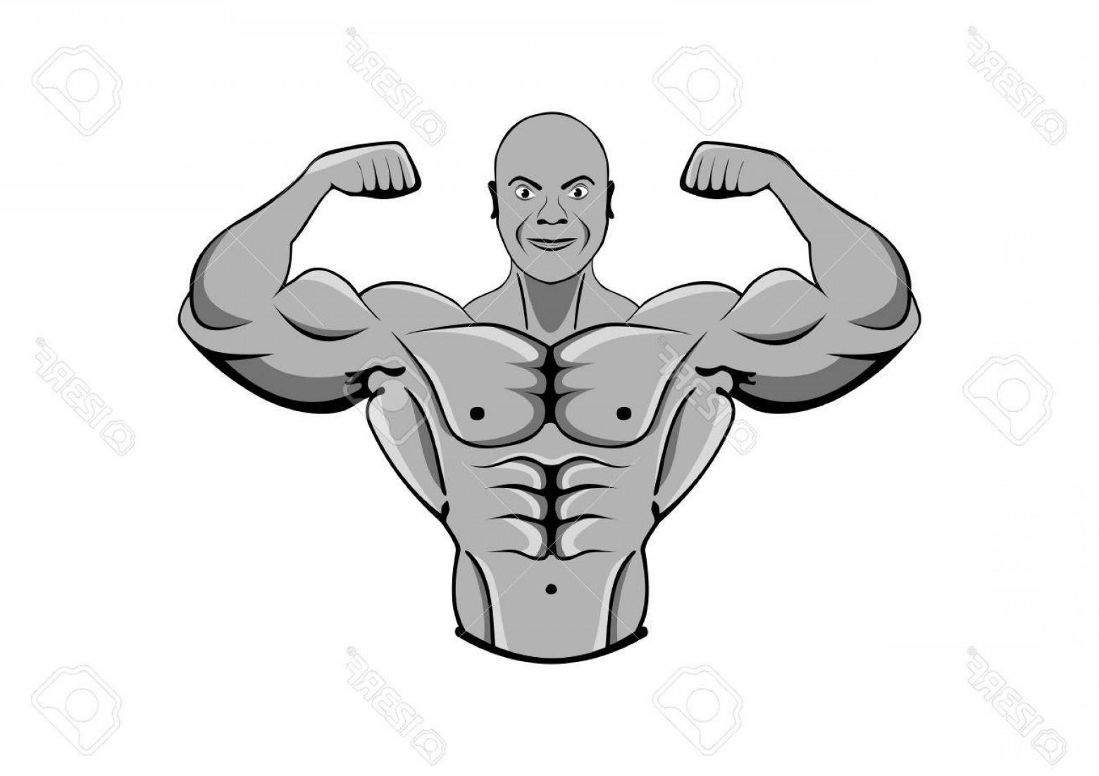 1560x1102 Photostock Vector Bodybuilder Strong Muscular Man Athlete Or