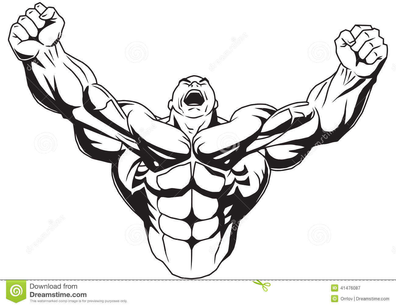 1300x1009 Angry Muscle Man Clipart