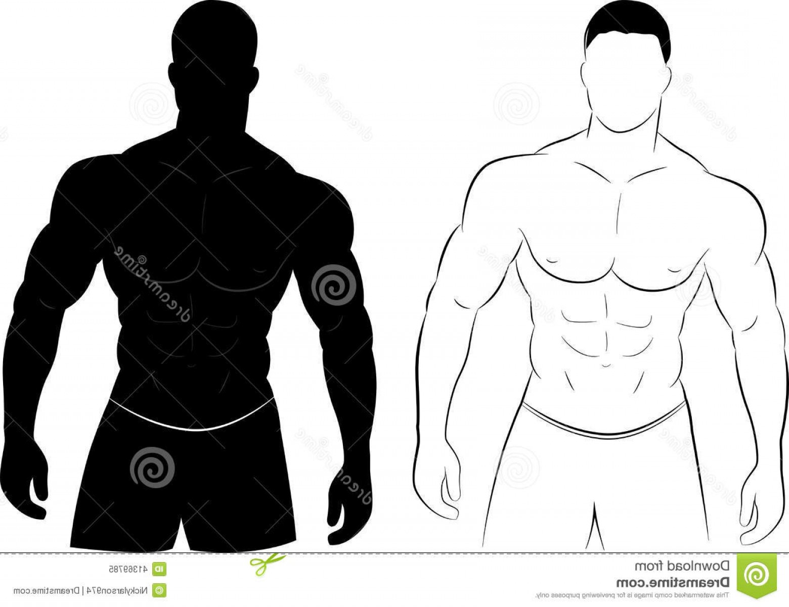 1560x1201 Stock Illustration Muscle Man Silhouette Vector Illustration