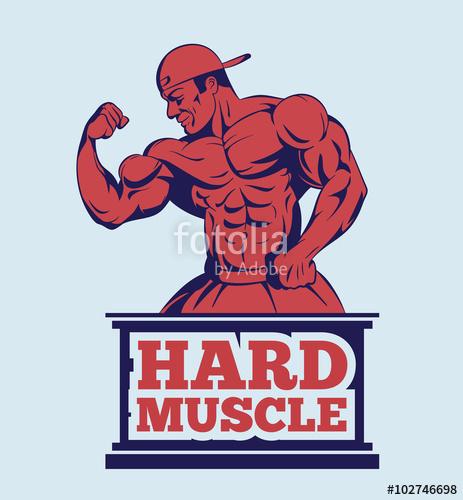 463x500 Bodybuilder Fitness Model Posing Logo . Muscle Man Emblem Stock