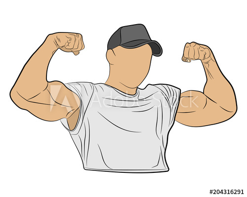 500x400 Inflated Body Muscle Man Vector Drawing Illustration