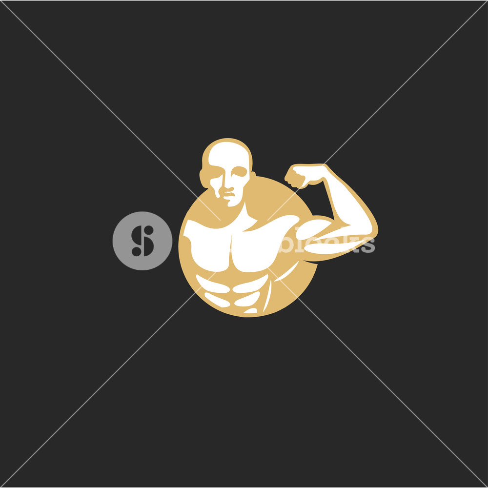 1000x1000 Minimal Logo Of Golden Muscle Man Vector Illustration Royalty Free
