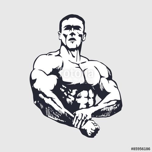 500x500 Hand Drawn Muscular Man