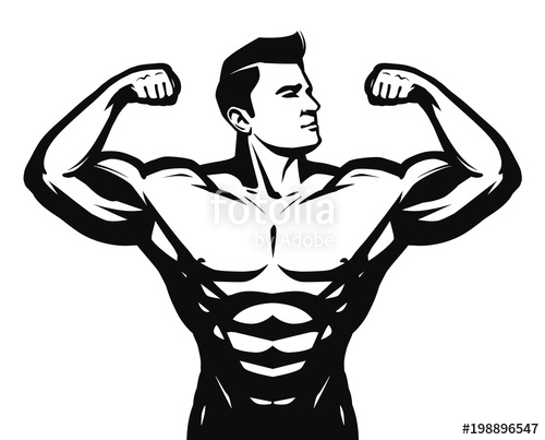 500x403 Gym, Sport, Bodybuilding Logo Or Label. Strong Man With Big