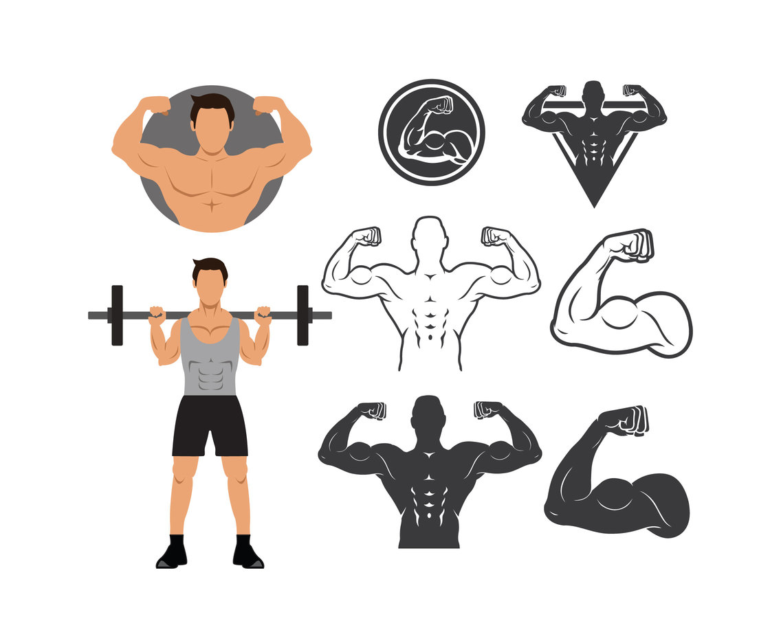 1136x936 Man Flexing Muscle With Silhouette Icons Vector Art Amp Graphics