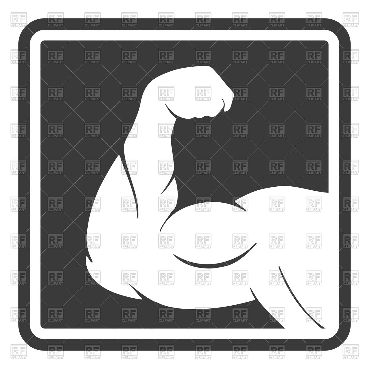 1200x1200 Power Male Muscle Arm Silhouette Icon Vector Image Vector
