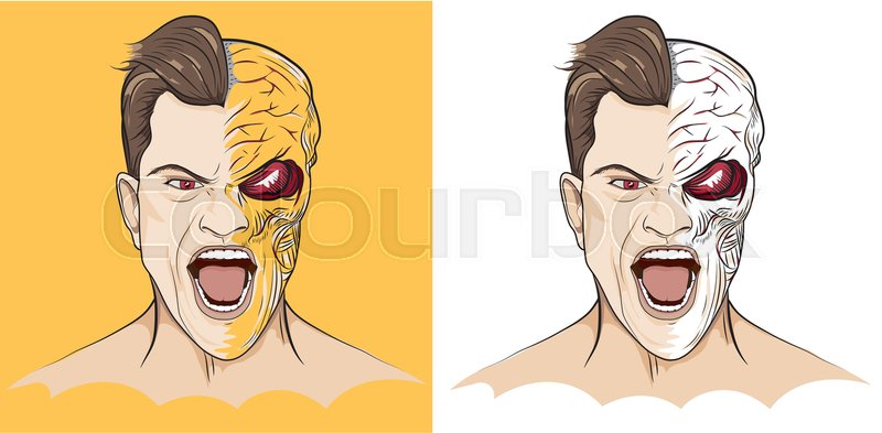 800x393 Anger Man Scream With A Half Face Of Skull And Muscle, Vector