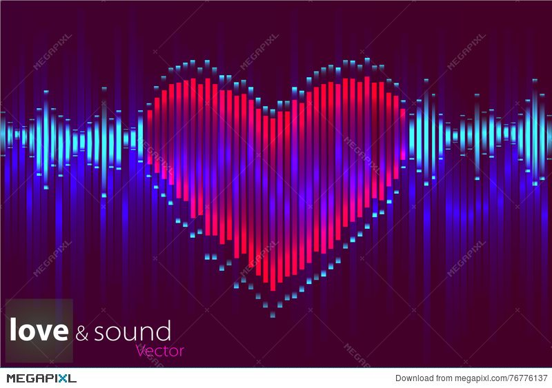 800x563 Digital Music Heart Equalizer. Vector Illustration. Illustration