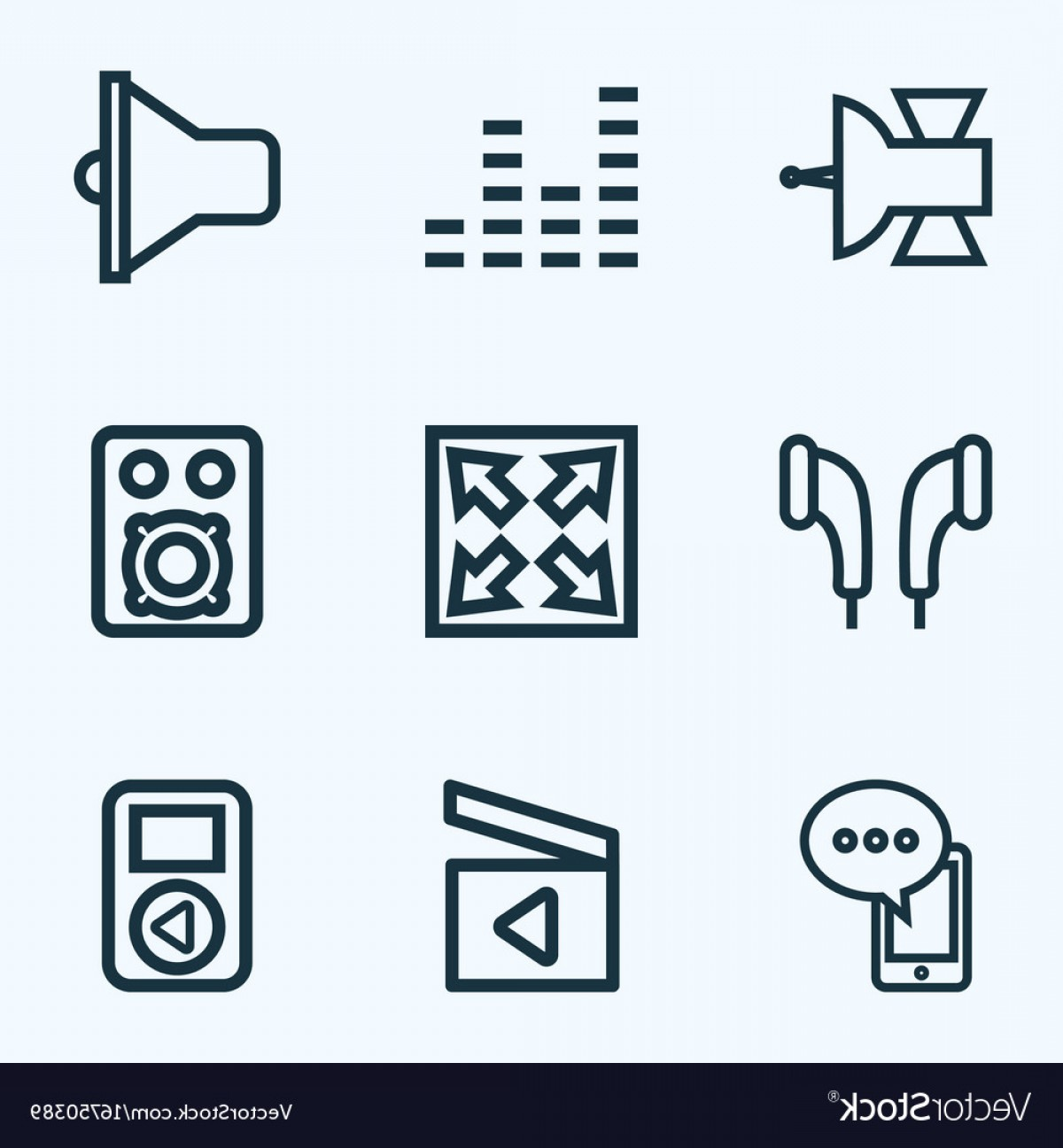 1200x1296 Music Outline Icons Set Collection Of Equalizer Vector Arenawp