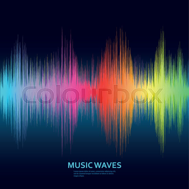 800x799 Music Waves Background. Rainbow Sound Music Equalizer. Vector