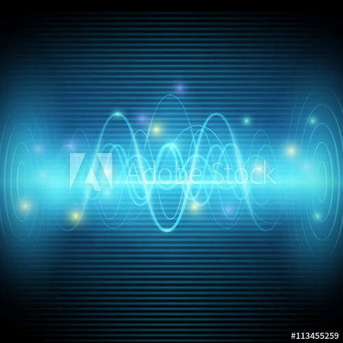 500x500 Abstract Sound Waves, Blue Light Music Equalizer Vector Design