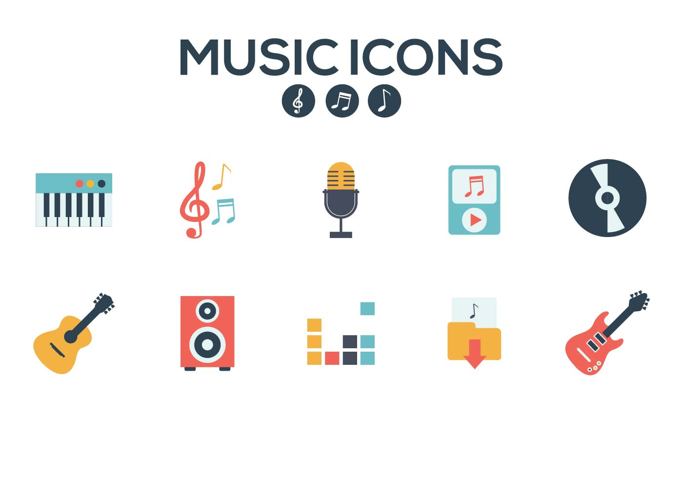 1400x980 Music Icons Vector
