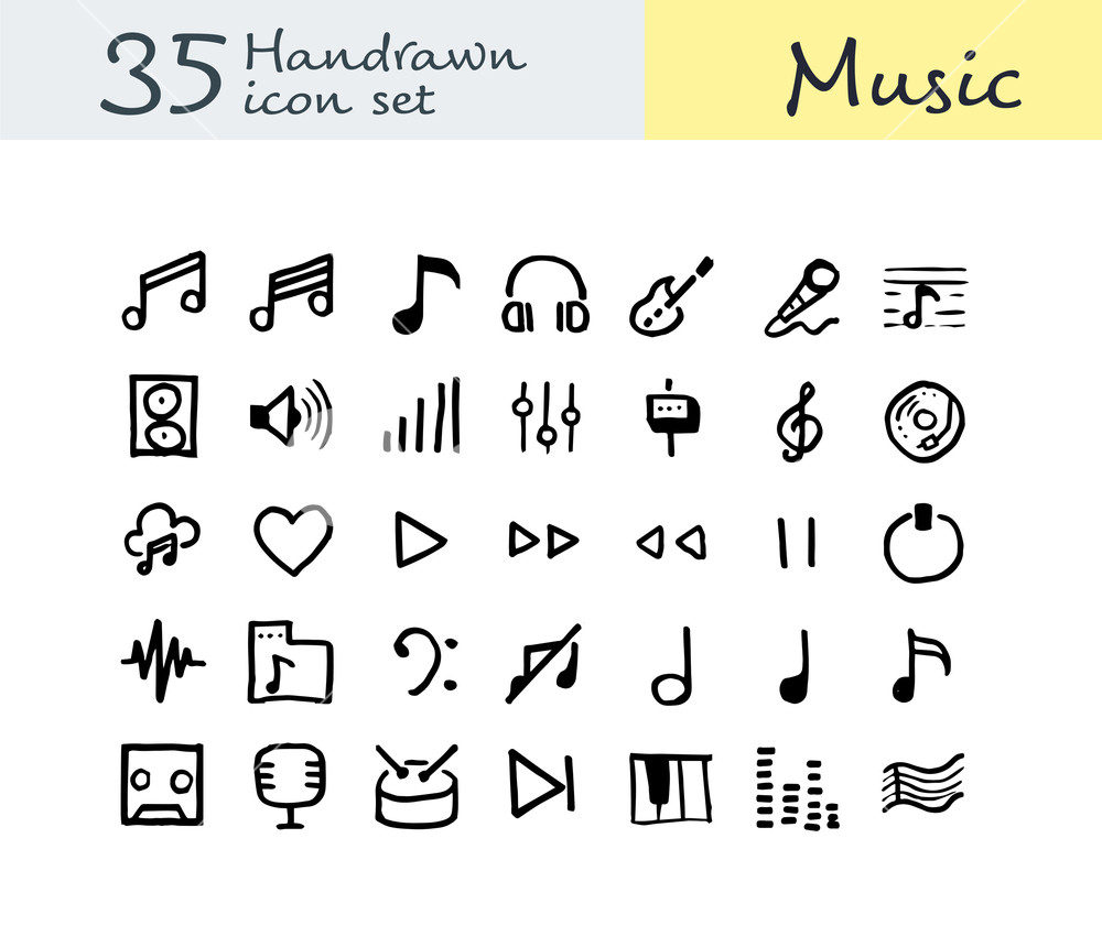 1000x860 35 Hand Drawn Music Icon. Doodle Music Icon. Vector Illustration