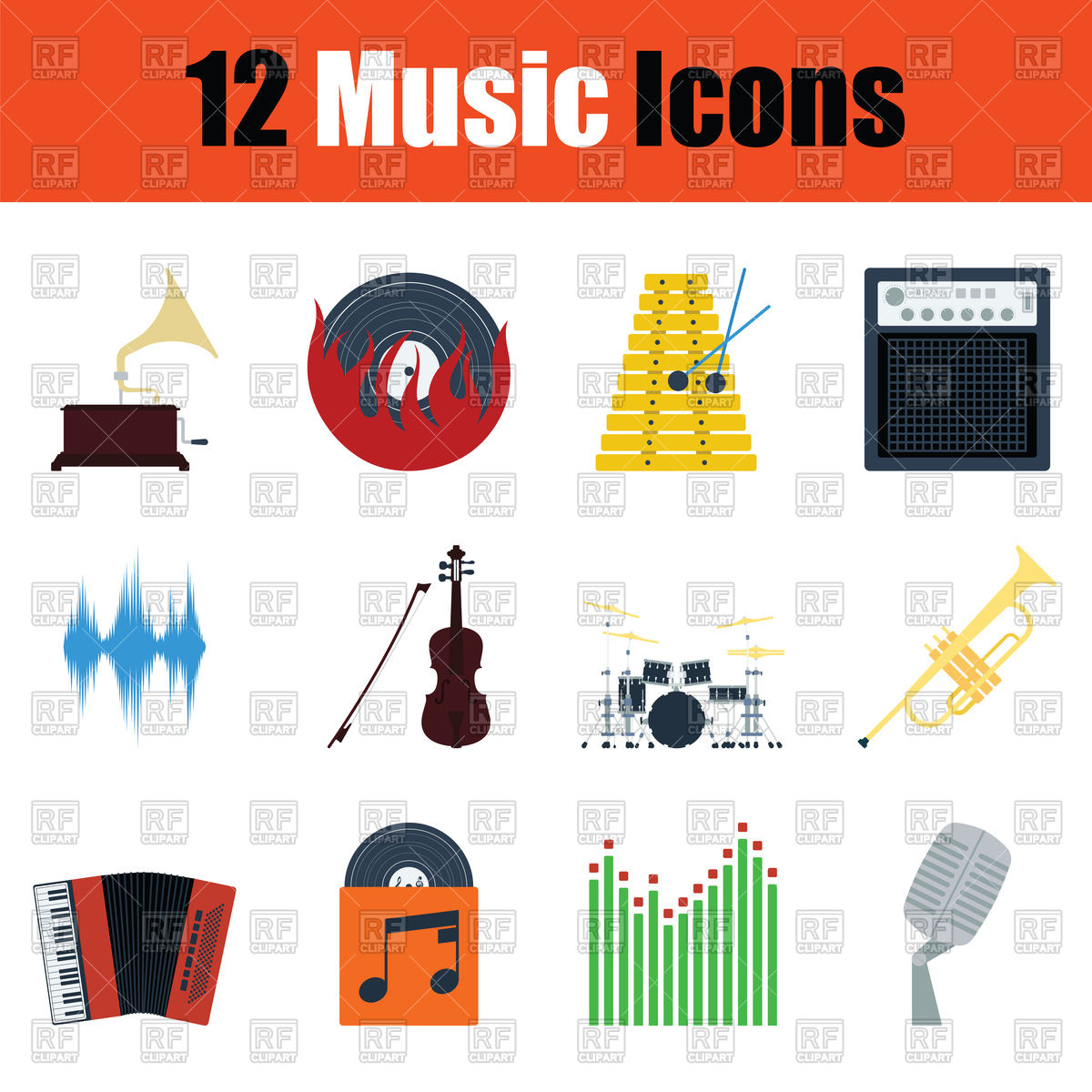 1200x1200 Music Icon Set. Color Flat Design. Vector Image Vector Artwork