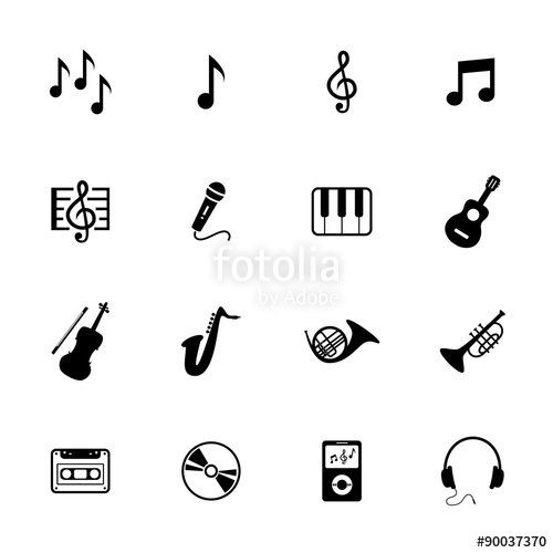 500x500 Music Icons. Musical Icon. Vector. Black Icon. Stock Photo And