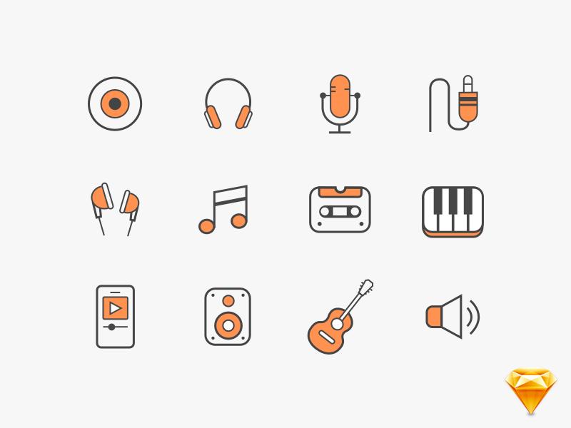 800x600 Music Vector Sketchapp Icons By Pramod Kabadi
