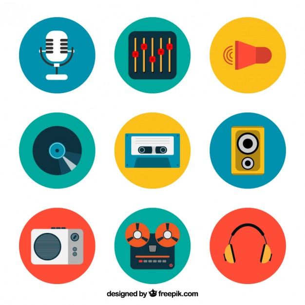 626x626 Colored Music Icons Collection Vector Free Download