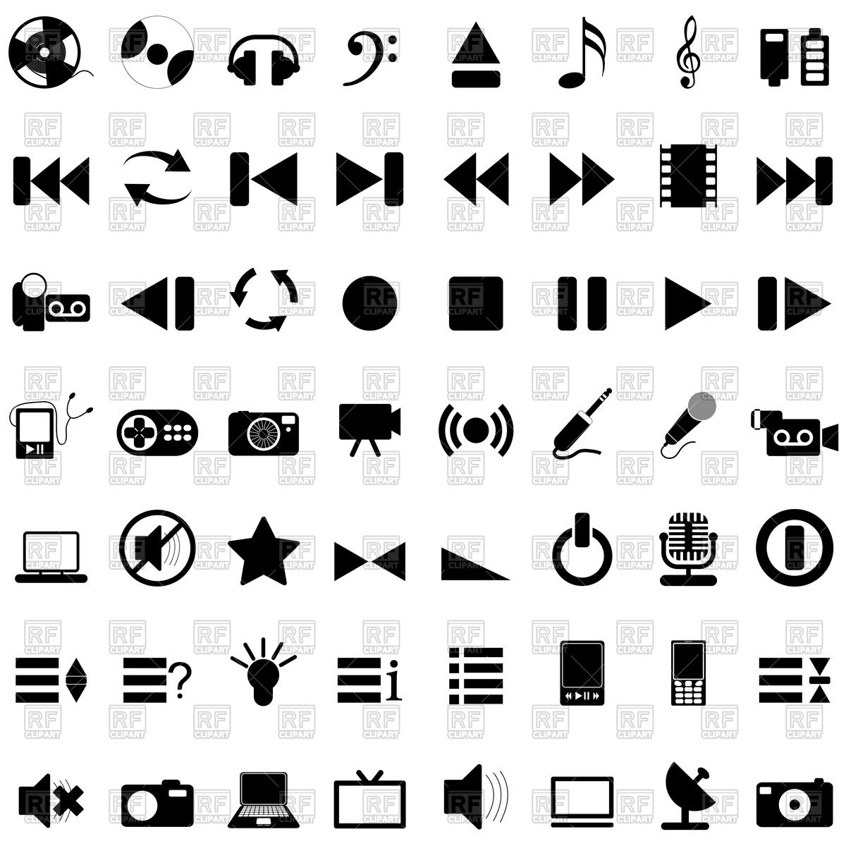 1200x1200 Set Of Music Icons Vector Image Vector Artwork Of Signs, Symbols