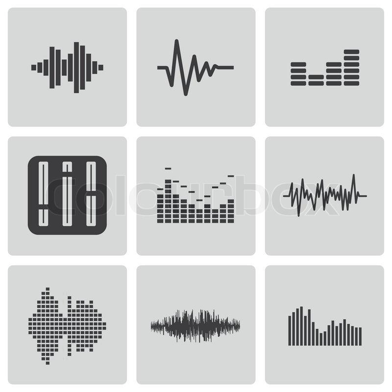 800x800 Vector Black Music Soundwave Icons Set White Background Stock