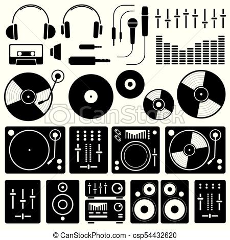 450x470 Vector Music Icon Set On White Background. Icons Of Dj Staff And