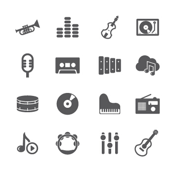 344x356 Gray Music Icons Vector Material Free Download