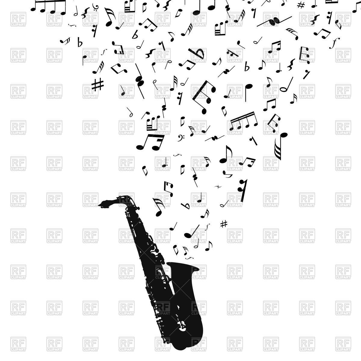 1200x1200 Saxophone With Musical Notes Vector Image Vector Artwork Of