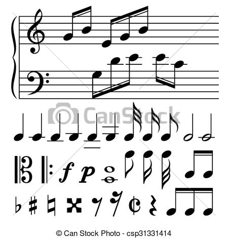450x470 Set Of Music Notes Vector. Black And White Silhouettes.