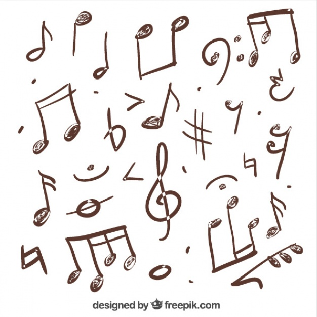 626x626 Variety Of Hand Drawn Musical Notes Vector Free Download