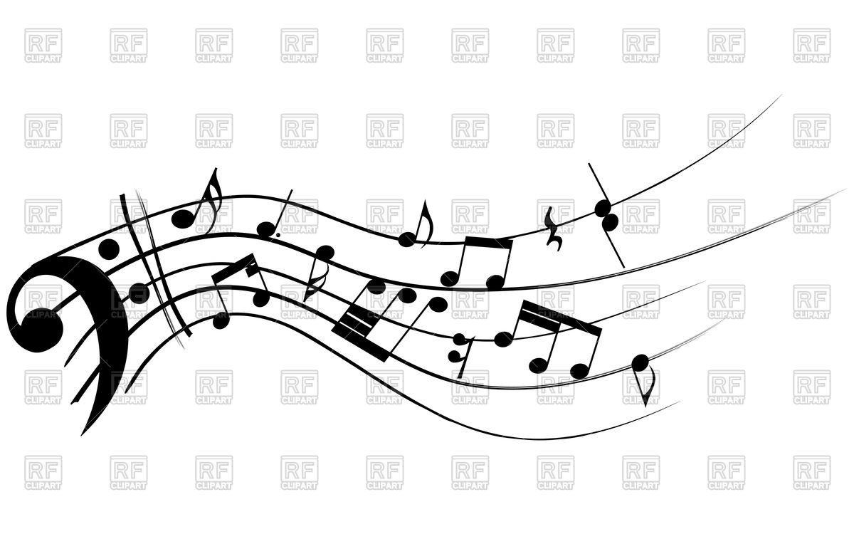 1200x750 Bass Clef With Musical Notes Vector Image Vector Artwork Of