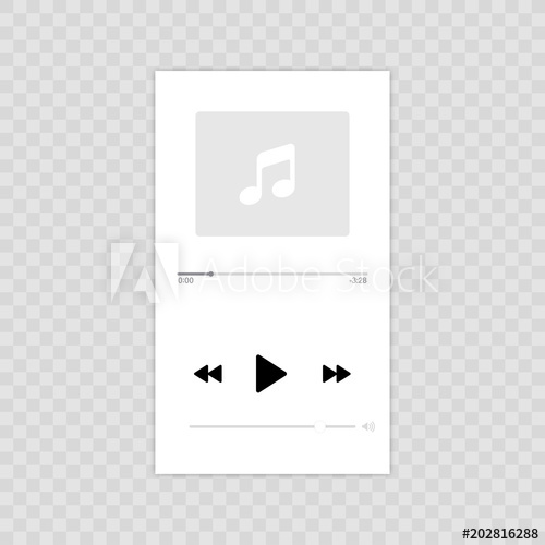 500x500 Media Player. Mobile Music Player Vector Icon Illustration Flat