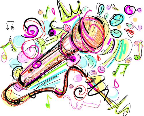 500x403 Hand Drawn Colored Musical Instruments Vector 04 Free Download