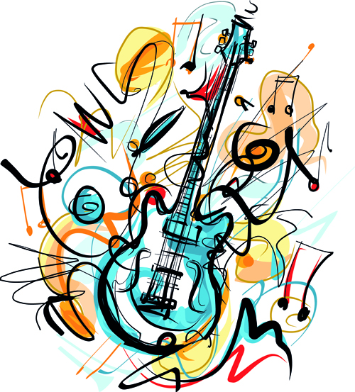 500x553 Hand Drawn Colored Musical Instruments Vector 06 Free Download