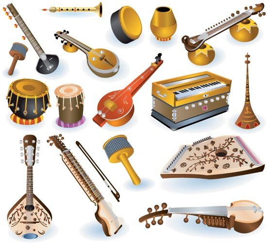 550x499 Indian Musical Instruments Vector