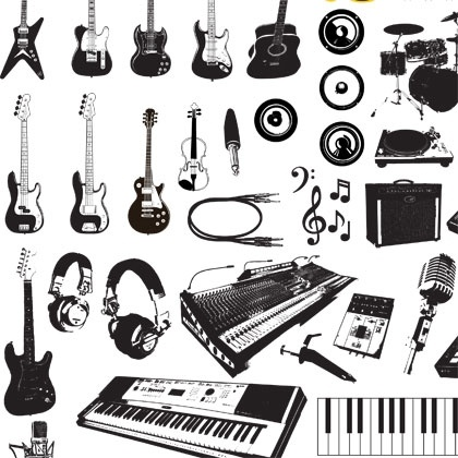 420x420 Music Instruments Vector Graphics Free Vector In Adobe Illustrator