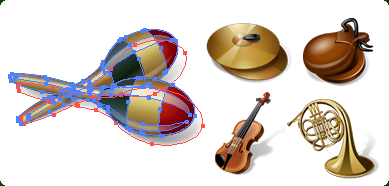 389x186 Musical Instruments Vector Icons With Custom Icon Design Service