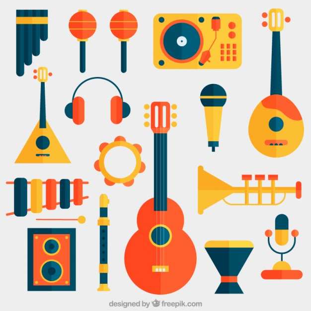 626x626 Collection Of Flat Musical Instruments Vector Free Download