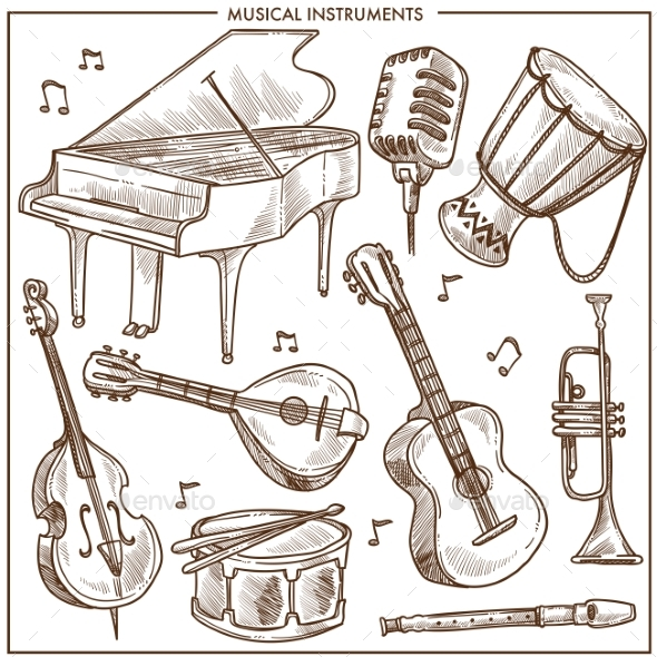 590x590 Musical Instruments Vector Sketch Icons Collection By Sonulkaster