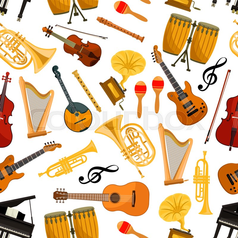 800x800 Musical Instruments Vector Seamless Pattern Of Orchestra Harp