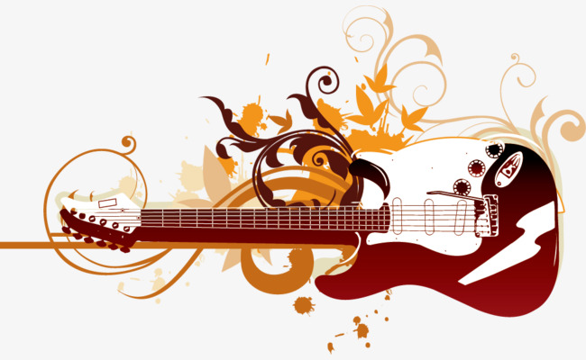 650x400 Red Guitar Instrument Vector Pattern, Guitar, Musical Instruments