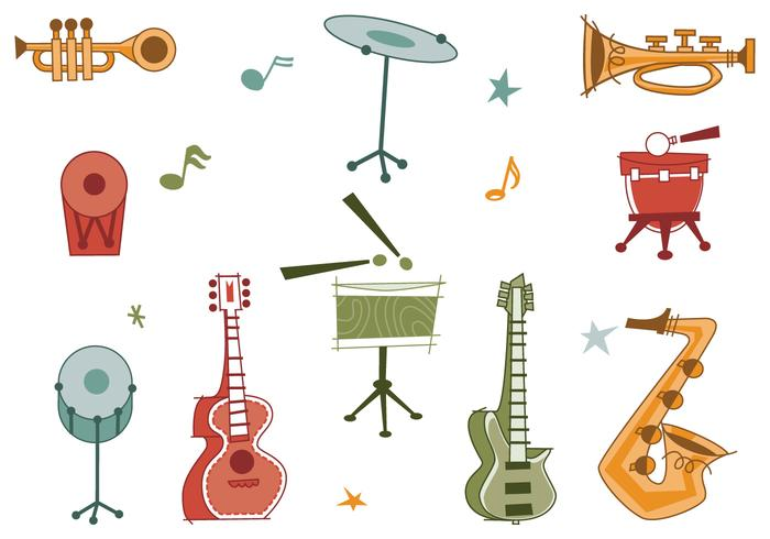700x490 Retro Musical Instrument Vector Pack