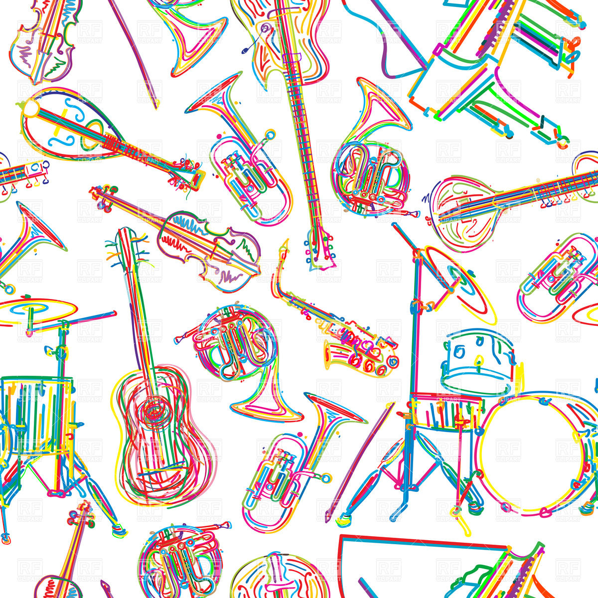 1200x1200 Seamless Background With Stylized Musical Instruments Vector Image